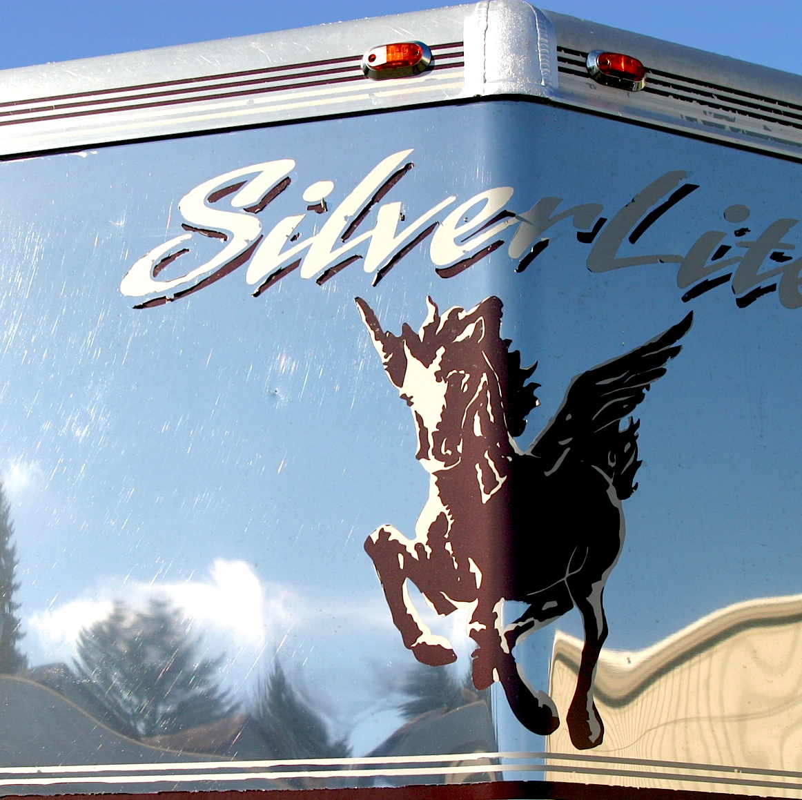 Shiny stainless cap of Silverlite Aluminum Horse Trailer