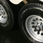 Clean aluminum wheels on the Hart horse trailer after cleaning with Silver BritePlus MX