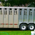 The left side is an uncleaned 4-year old stock trailer. The right half was cleaned with Silver BritePlus MX!