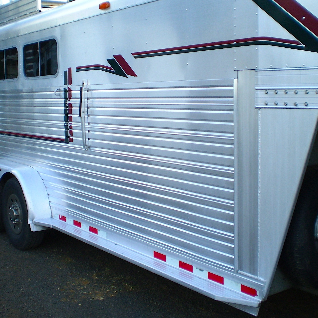 An unpolished aluminum CNC horse trailer after BritePlus MX cleaning