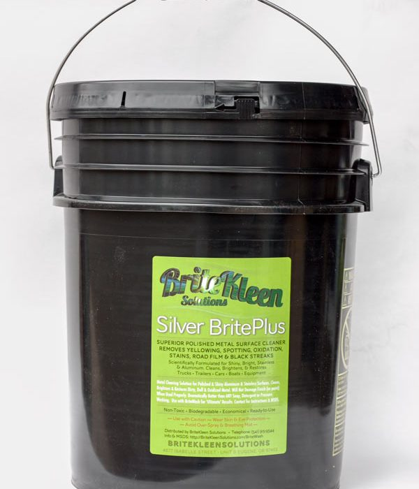Five gallon bucket Silver BritePlus aluminum and stainless steel cleaner